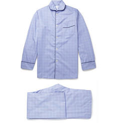 Kingsman Turnbull & Asser Blue Prince of Wales Check Cotton Pyjamas