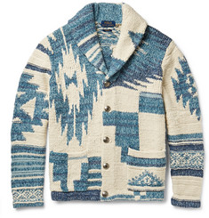 Polo Ralph Lauren Shawl-Collar Intarsia Cotton, Silk and Linen-Blend Cardigan