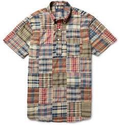 Polo Ralph Lauren Button-Down Collar Patchwork Madras-Checked Cotton Shirt