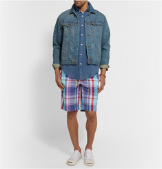 Polo Ralph Lauren Checked Cotton and Linen-Blend Shorts