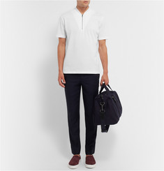 COS Half-Zip Jersey-Trimmed Cotton-Pique T-Shirt