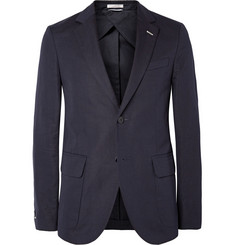 Gant Rugger Navy Cotton and Linen-Blend Canvas Blazer