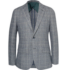 Hackett Blue Slim-Fit Check Brushed-Wool Blazer