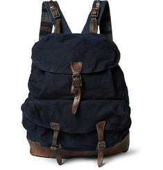 RRL Fargo Leather-Trimmed Canvas Backpack