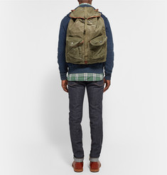RRL Canyon Leather-Trimmed Cotton-Canvas Backpack