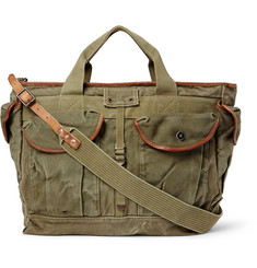 RRL Dayton Leather-Trimmed Cotton-Canvas Shoulder Bag