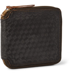 RRL - Zip-Around Basketweave-Embossed Washed-Leather Wallet