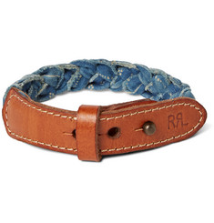 RRL Distressed Leather and Braided Cotton-Canvas Cuff