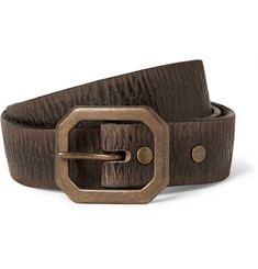 RRL 3cm Brown Burlington Distressed-Leather Belt