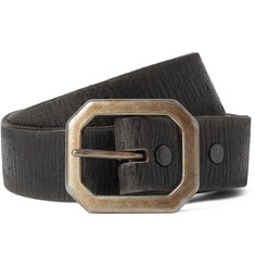 RRL 3cm Black Burlington Distressed Leather Belt