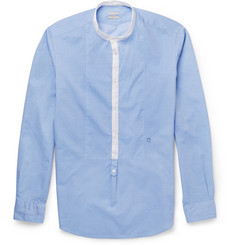 Massimo Alba Cotton-Pique Grandad-Collar Shirt