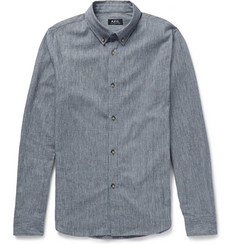 A.P.C. Striped Cotton and Linen-Blend Shirt