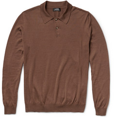 A.P.C. Knitted-Cotton Polo Shirt