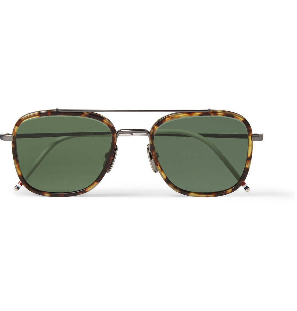 Square Frame Tortoiseshell and Titanium Sunglasses Brown
