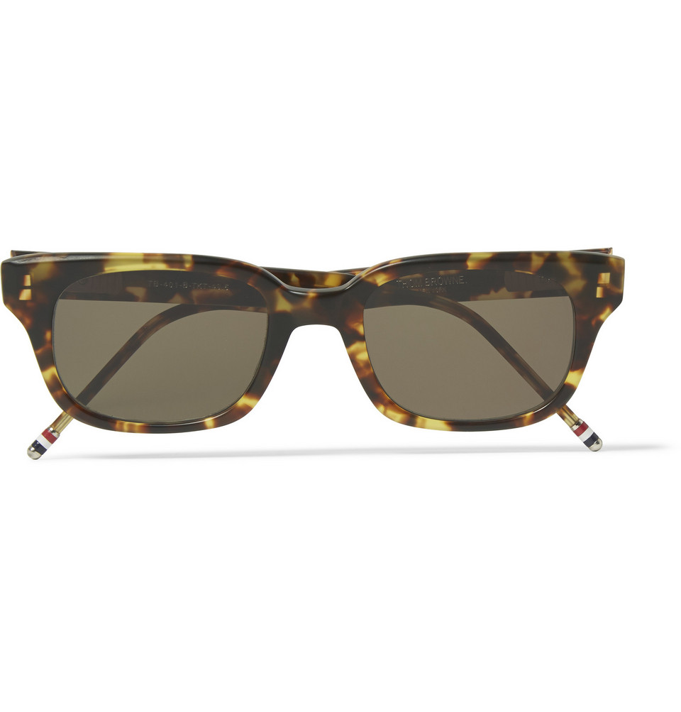 Square Frame Tortoiseshell Acetate Sunglasses Brown