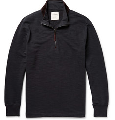Billy Reid Half-Zip Suede-Trimmed Cotton Sweatshirt