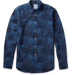Billy Reid Patchwork Swiss-Dot Cotton Shirt