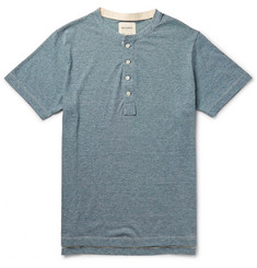 Billy Reid Micro-Striped Cotton-Blend Jersey Henley T-Shirt