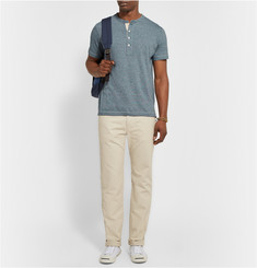 Billy Reid Micro-Stripe Cotton-Blend Jersey Henley T-Shirt