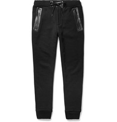 Marc by Marc Jacobs Luke Leather-Trimmed Cotton-Blend Jersey Sweatpants