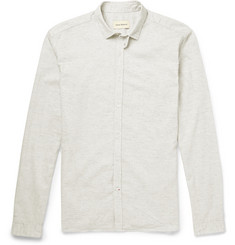 Oliver Spencer Marled Cotton and Linen-Blend Shirt