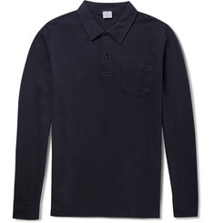 Sunspel Riviera Long-Sleeved Cotton-Mesh Polo Shirt