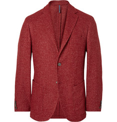 Incotex Red Slim-Fit Herringbone Wool-Blend Blazer