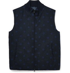 Incotex Dot-Patterned Quilted Wool-Blend Gilet
