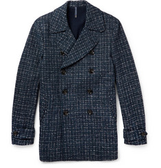 Incotex Checked Double-Breasted Wool-Blend Peacoat