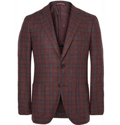 Isaia Brown Slim-Fit Checked Wool and Cashmere-Blend Blazer
