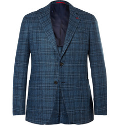Isaia Blue Checked Wool and Silk-Blend Blazer