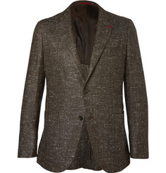 Isaia Brown Donegal Silk, Wool and Cashmere-Blend Blazer