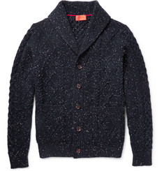 Isaia Shawl-Collar Cable-Knit Wool Cardigan