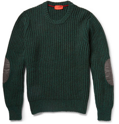 Isaia Elbow Patch Ribbed Yak Sweater