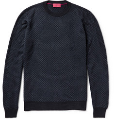 Isaia Elbow Patch Merino Wool-Jacquard Sweater