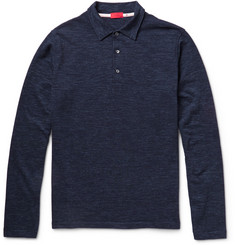 Isaia Wool and Cotton-Blend Polo Shirt
