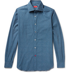 Isaia Slim-Fit Floral-Print Brushed-Cotton Shirt