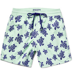 Vilebrequin Moorea Mid-Length Turtle-Flocked Swim Shorts