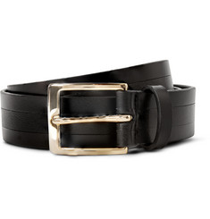 Paul Smith Shoes & Accessories 3.5cm Black Striped Leather Belt