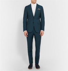 PS by Paul Smith Petrol Slim-Fit Wool And Mohair-Blend Trousers
