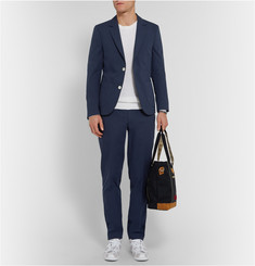 Folk Navy Slim-Fit Cotton Suit Trousers