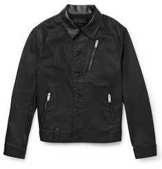 Alexander McQueen Harrington Leather-Trimmed Waxed-Denim Jacket