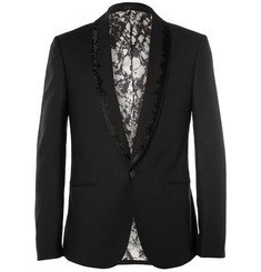 Alexander McQueen Black Beaded Wool and Mohair-Blend Tuxedo Jacket