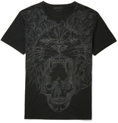 Alexander McQueen Embroidered Lion-Print Cotton-Jersey T-Shirt