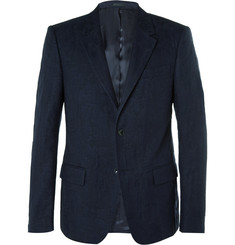Alexander McQueen Navy Stretch-Cotton and Wool-Blend Jacquard Blazer