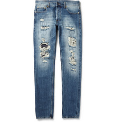 Alexander McQueen Slim-Fit Washed Selvedge Denim Jeans