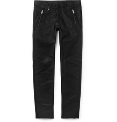 Alexander McQueen Leather-Pocket Slim-Fit Coated Denim Jeans