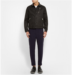 Alexander McQueen Leather-Trimmed Cuffed Crepe Trousers