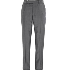 Alexander McQueen Grey Slim-Fit Wool And Mohair-Blend Trousers