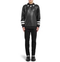 Givenchy Star-Appliqué Leather and Neoprene Sweatshirt